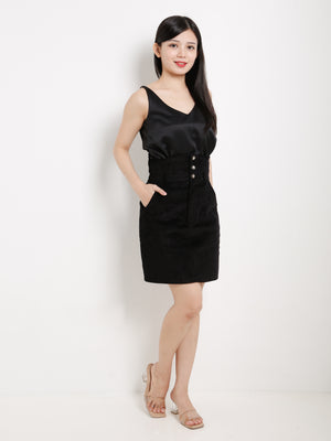 High Waisted Triple Button Skirt 13416