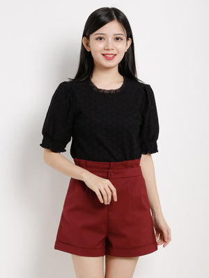 High Waisted Pleated Short Pants 13430