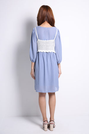 Long Sleeve Dress With Knit Outer Set 9728A