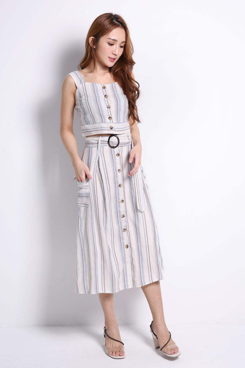 Stripe Strap Top With Skirt Set 9759