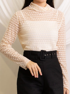 Turtleneck Lace Top