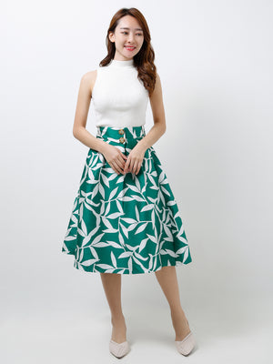 Double Button Printed Skirt 12375
