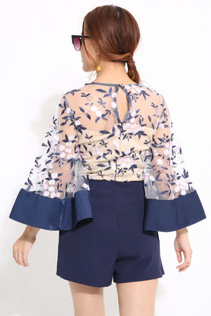 Emboidary Wing Sleeve Playsuit 1180 - ample-couture