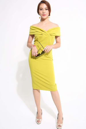 Off Shoulder Fitted Dress 1183 - ample-couture