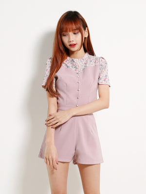 Button Floral Top With Short Pants 13011