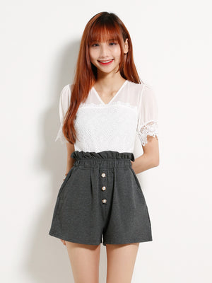 Fake Button Elastic Waist Short Pants 12970