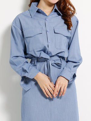 Front Pocket Blouse Dress 13034