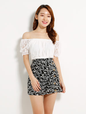 Side Button Crochet Skirt 12918