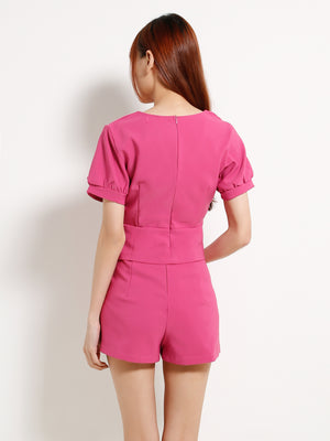 V Neck Top With High Waisted Short Pants 13015