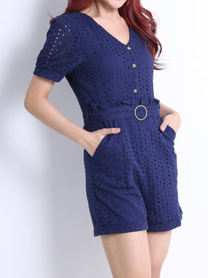 Crochet Playsuit With Tie Up Belt 11075