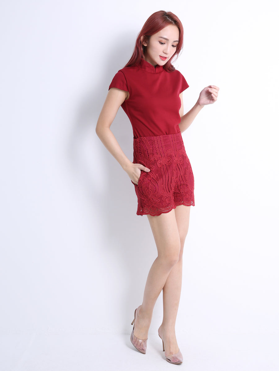 Cheongsam Top With Lace Pants Set 11087