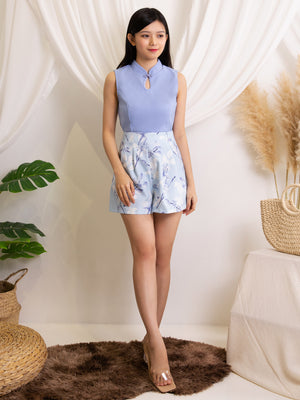 Cheongsam Top With Short Pants Set