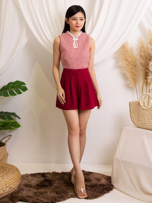 Keyhole Cheongsam Top With Short Pants Set
