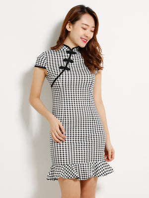 Checker Cheongsam Dress 13035
