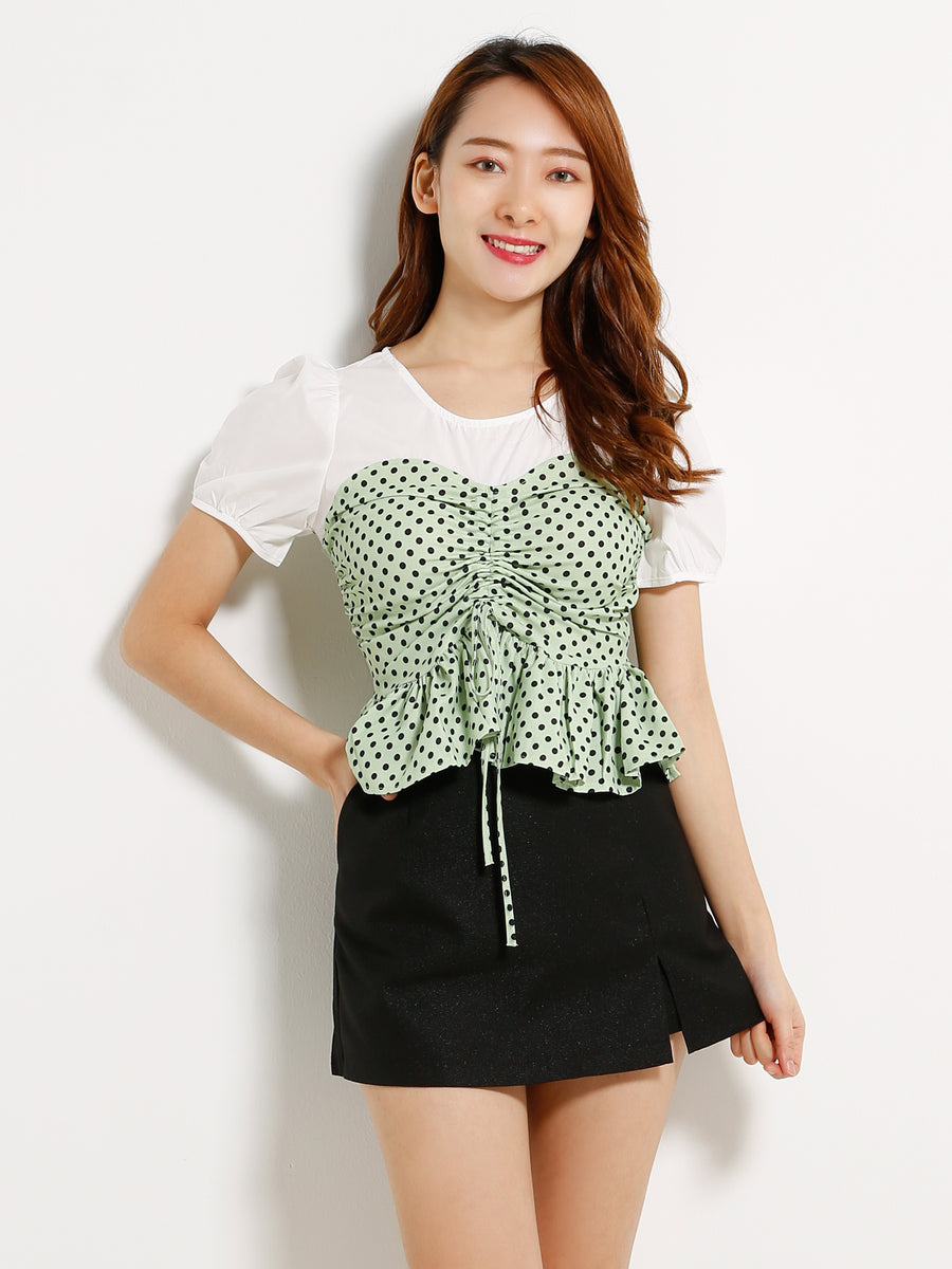 Polka Dot Tie Up Top 13064