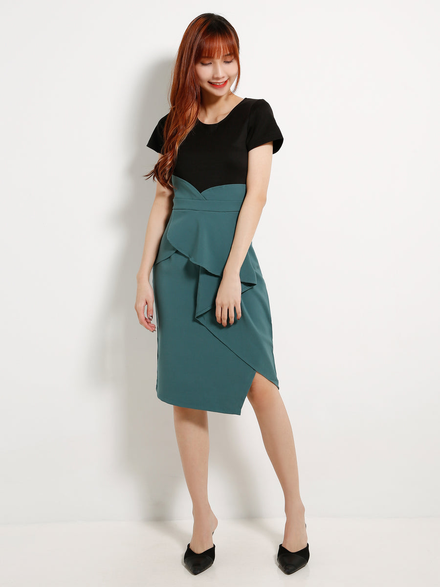 Ruffle Dual Tone Dress 13045
