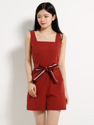 Square Neck Strap Playsuit 13059