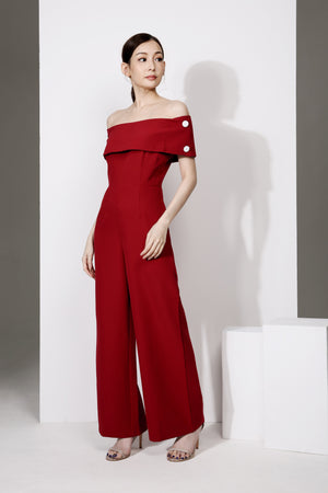 Off Shoulder Button Jumpsuit 1952 - ample-couture