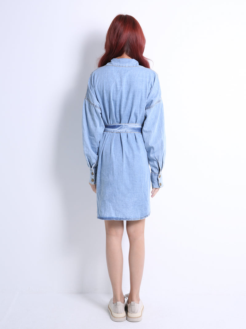 Front Button Denim Dress 11026