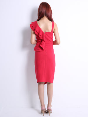 Asymmetric Shoulder Dress 11048