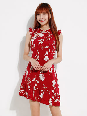 Flower Cheongsam Dress 12039