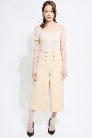 Button Jumpsuit 0922  Beige / S Jumpsuits