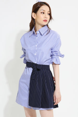 Stripe Printed Shirt Dress With Skirt Belt 0943 - Ample Couture