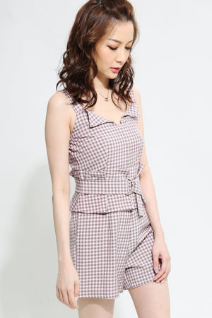Checked Print Playsuit 0931  - ample-couture