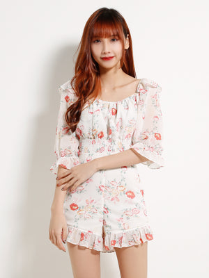 Off Shoulder Flower Top With Flower Short Pants Set 13080