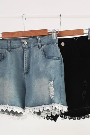 Crochet Denim Short Pants 10530