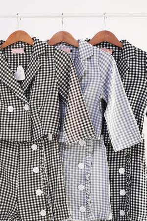 Checker Top With Short Pants Set 10599