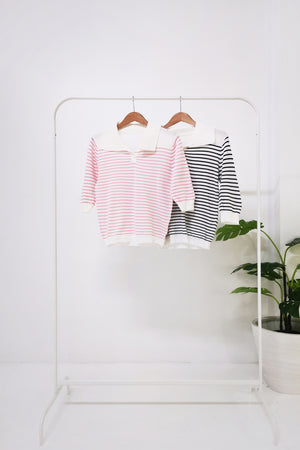 Stripe Collar Knit Top 10717A