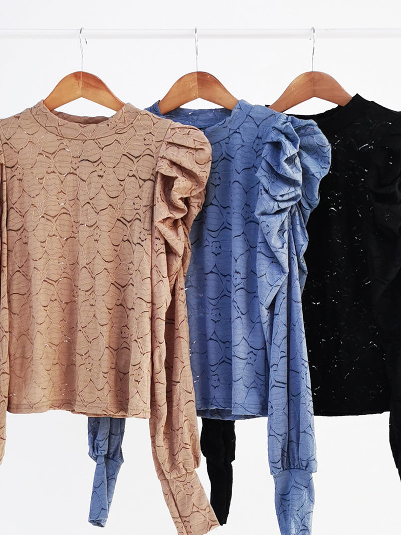 Puff Sleeve Lace Top 10949
