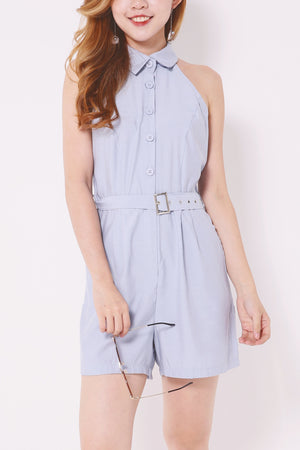 Cut-out Romper with Buckle Belted 4702 - ample-couture