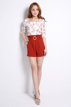 Flower Top With Short Pants Set 10499