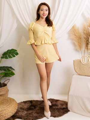 Puff Sleeve Top With Short Pants Set