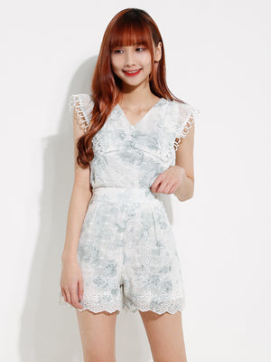 Watercolor Lace Top With Short Pants Set 12532
