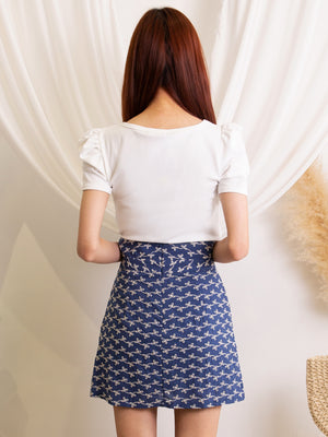 Triple Button Printed Skirt 11389