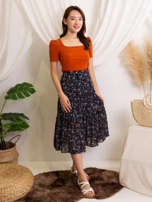 Plain Top With Floral Skirt Set