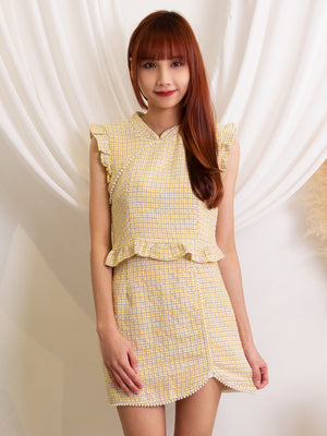 Paerl Checker Top With Skirt Set