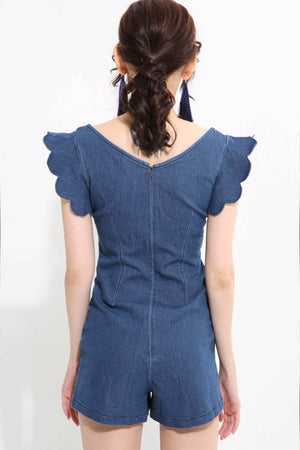 Denim Wavy Sleeve Playsuit 1256 - ample-couture