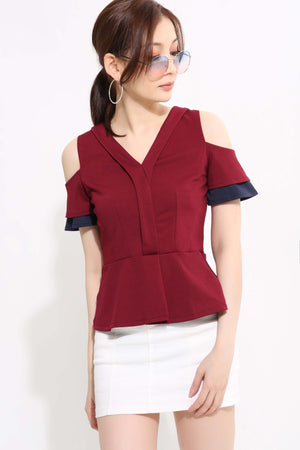 V-Neck Peplum Top