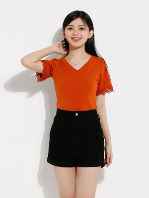 Plain V Neck Top 12580