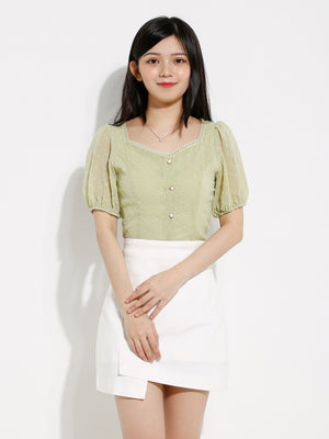 Front Button Square Neck Top 12566