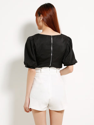 Back Zip Square Neck Top 13095