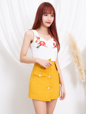 Square Neck Flower Top 11221