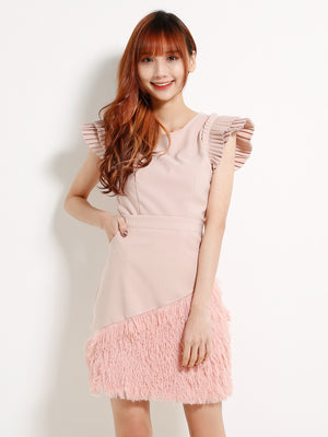 Pleated Sleeve Top With Fur Attached Skirt Set 13114