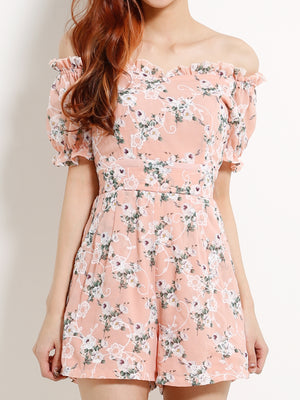 Floral Off Shoulder Playsuit 13197