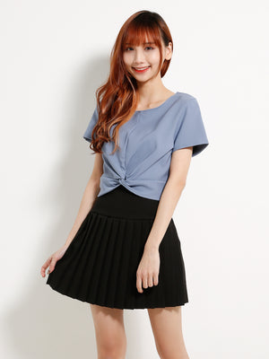 Twist Top With Pleated Skrit Set 13103