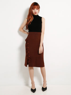 Knitted Side Split Button Skirt 13199